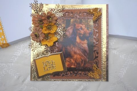 HAND MADE DASCHUND HAPPY BIRTHDAY KEEPSAKE CARD BOXED WITH FLOWERS